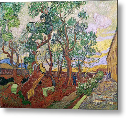 Tree Metal Print featuring the painting The Garden Of St Pauls Hospital At St. Remy by Vincent Van Gogh