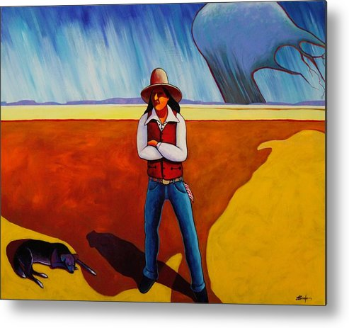 Native American Metal Print featuring the painting The Logic Of Solitude by Joe Triano