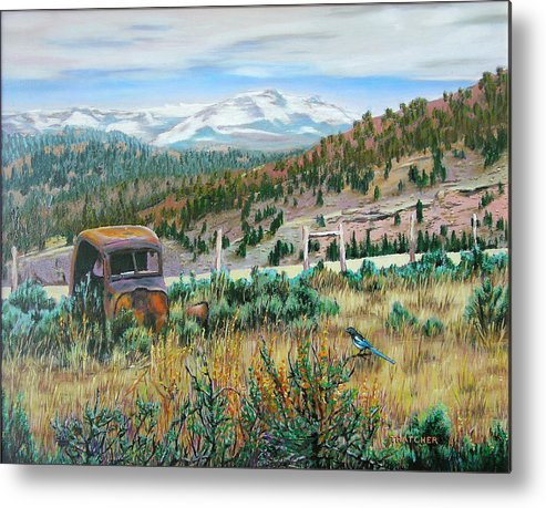 Mountainscape Metal Print featuring the painting The Magpie by Oil