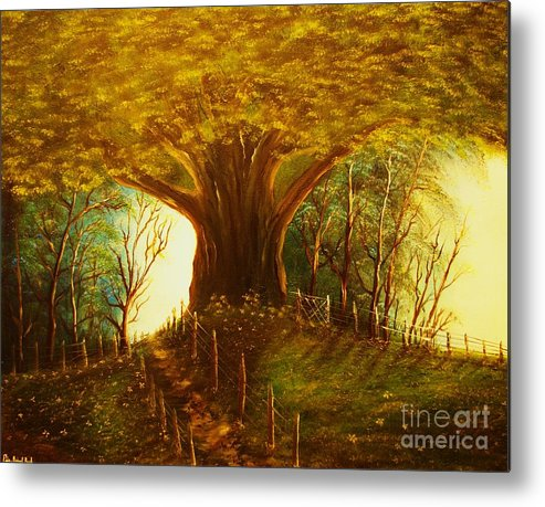Oak. Tree.park Metal Print featuring the painting The Oak Tree-original Sold-buy Giclee Print Nr 31 Of Limited Edition Of 40 Prints by Eddie Michael Beck