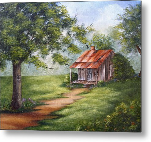 Oil Metal Print featuring the painting The Old Homestead by Ruth Bares