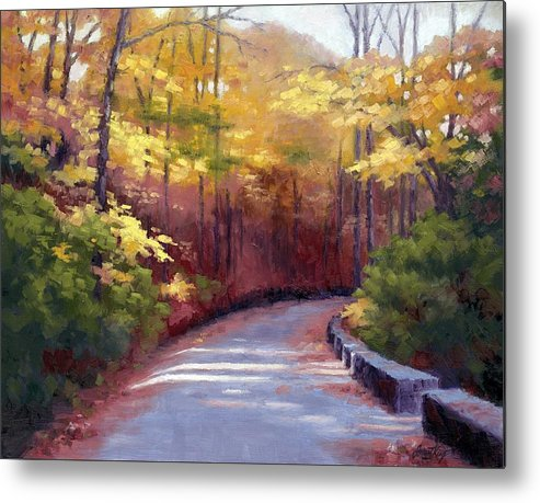 Autumn Paintings Metal Print featuring the painting The Old Roadway In Autumn II by Janet King