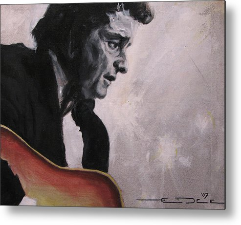 Johnny Cash Metal Print featuring the painting The Ring Of Fire by Eric Dee