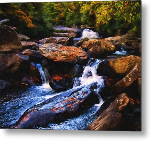 Waterfalls. Landscapes Metal Print featuring the digital art The Skull Waterfall by Chris Flees
