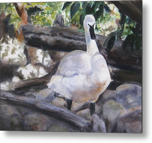 Swan Metal Print featuring the painting The Swan by Lori Brackett