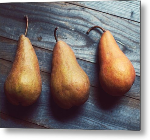 Food Photograph Metal Print featuring the photograph Three Gold Pears by Lupen Grainne