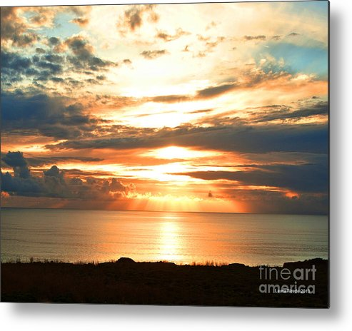Beach Art Metal Print featuring the photograph Tomorrow Is A New Day- Beach At Sunset by Artist and Photographer Laura Wrede