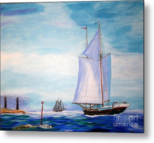 Coasting Schooners Metal Print featuring the painting Trending Into Maine - Coaster's Meeting by Bill Hubbard
