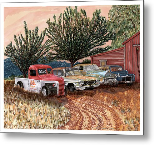 Classic Car Art Metal Print featuring the painting Tularosa Motors by Jack Pumphrey