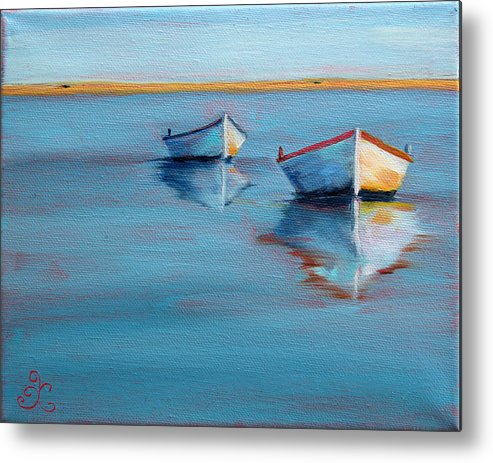 Rowboats Metal Print featuring the painting Twin Boats II by Trina Teele