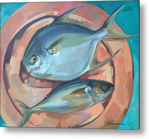 Fish Metal Print featuring the painting Two Fish On A Copper Platter by Larisa Ivakina-Clevenger