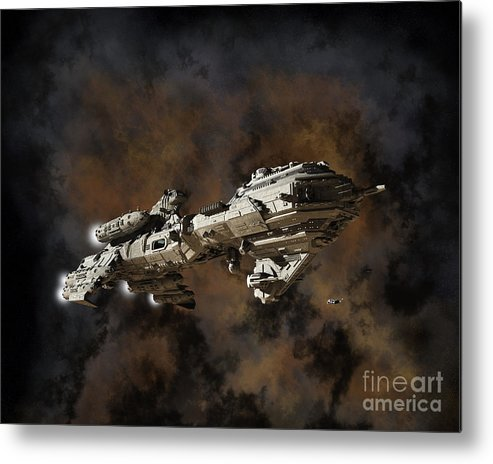 Space Metal Print featuring the digital art Typhon And Nebula by Fairy Fantasies