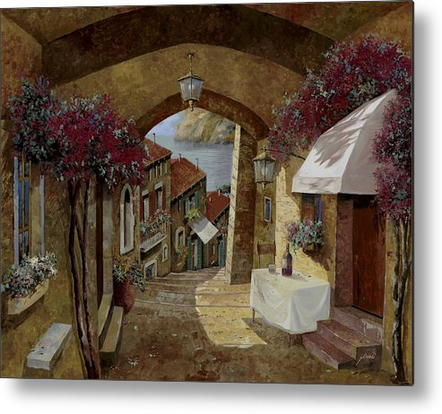 Streetscape Metal Print featuring the painting Un Bicchiere Sotto Il Lampione by Guido Borelli