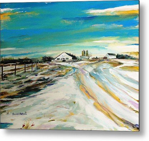 Acylic Metal Print featuring the painting Unexpected Dusting Sutton Ma by Scott Nelson