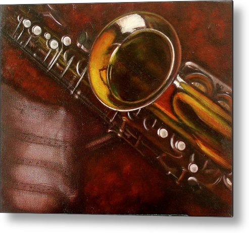 Still Life Metal Print featuring the painting Unprotected Sax by Sean Connolly