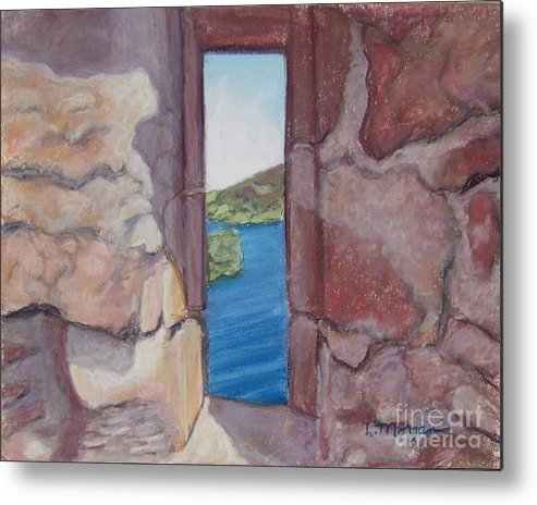 Loch Ness Metal Print featuring the painting Archers' Window Urquhart Ruins Loch Ness by Laurie Morgan