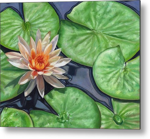 Lily Metal Print featuring the painting Water Lily by David Stribbling