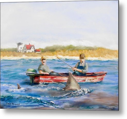 Boat Metal Print featuring the painting We Need A Biggah Boat by Jack Skinner