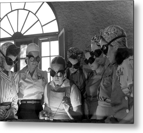 History Metal Print featuring the photograph Welding Training For Women by Everett
