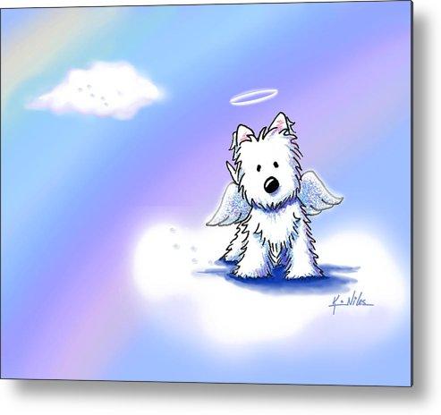 Westie Terrier Metal Print featuring the drawing Westie Angel At Rainbow Bridge by Kim Niles