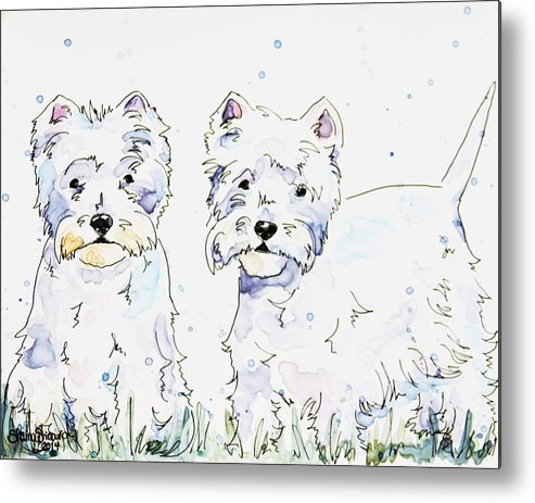 Westie Metal Print featuring the painting Westie Love by Shaina Stinard
