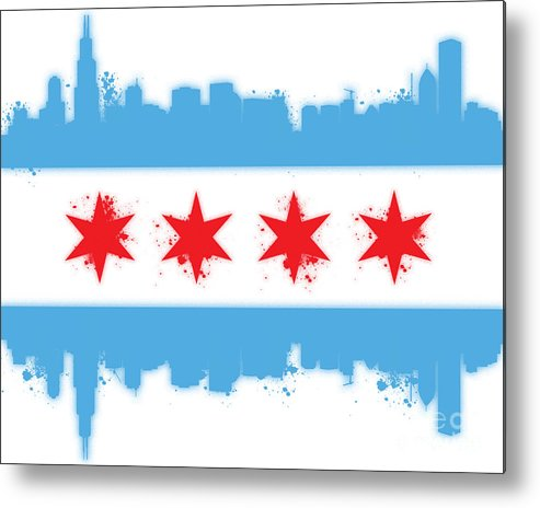 Chicago Metal Print featuring the digital art White Chicago Flag by Mike Maher