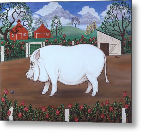 Folk Art Barnyard Metal Print featuring the painting White Hog And Roses by Linda Mears