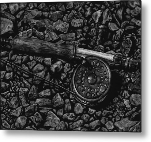Fishing Metal Print featuring the painting White River Contemplation by Stephanie Ford