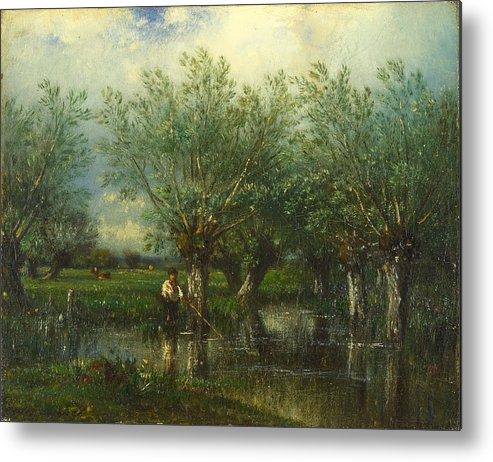 Jules Dupre Metal Print featuring the painting Willows With A Man Fishing by Jules Dupre