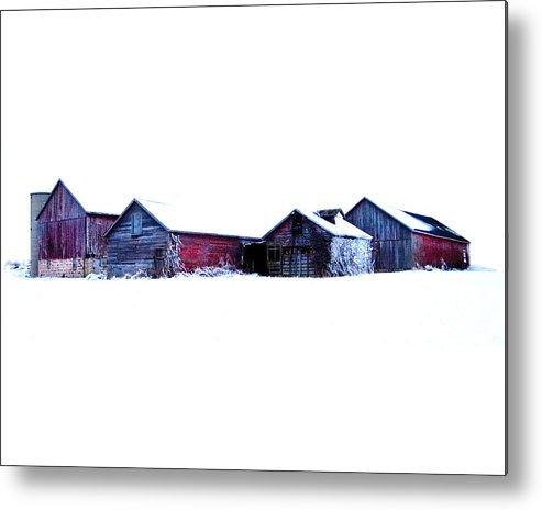 Barns Metal Print featuring the photograph Winter Barns by Jeff Klingler