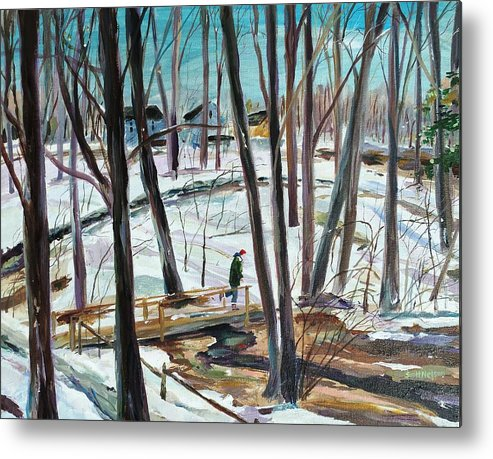 Acrylic Metal Print featuring the painting Winter Footbridge by Scott Nelson