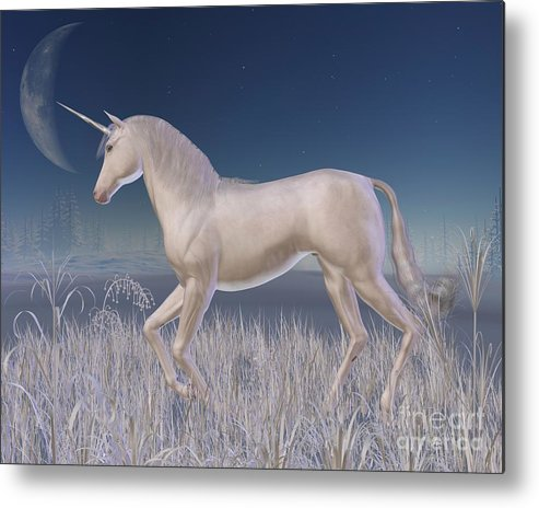 Unicorn Metal Print featuring the digital art Winter Unicorn - Running by Fairy Fantasies