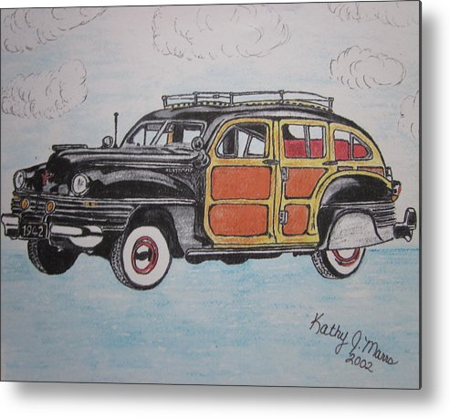 Woodie Metal Print featuring the painting Woodie Station Wagon by Kathy Marrs Chandler