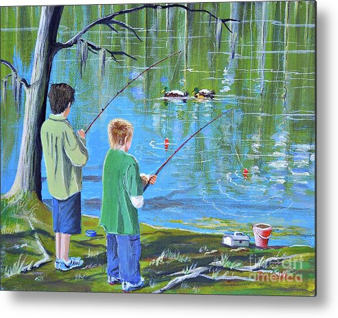Fishing Metal Print featuring the painting Young Lads Fishing by Bill Holkham