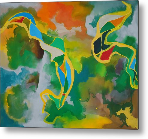 Abstract Metal Print featuring the painting Natives by Nick Franco
