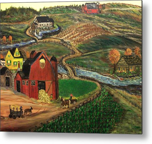 Folk Art Metal Print featuring the painting Old Mill Farm by Kenneth LePoidevin