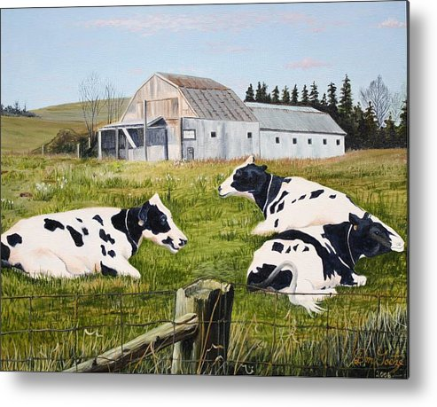 Cows Metal Print featuring the painting Afternoon In The Pasture by Don Goetze