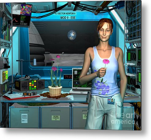 Space Exploration Metal Print featuring the digital art A Young Radio Astronomer Stationed by Walter Myers