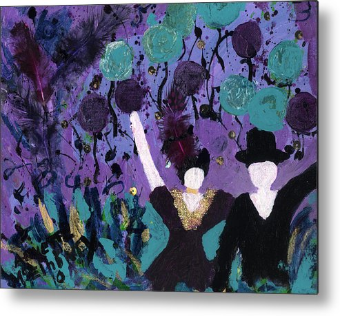 Women Metal Print featuring the painting Althea Dances With Ned by Annette McElhiney