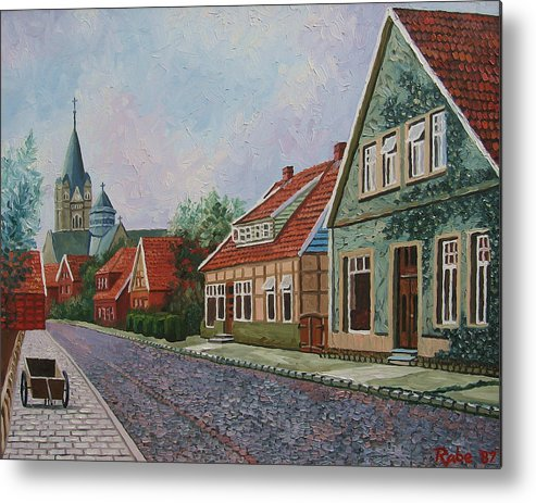 Ankum Germany Metal Print featuring the painting Ankum Germany by Mike Rabe