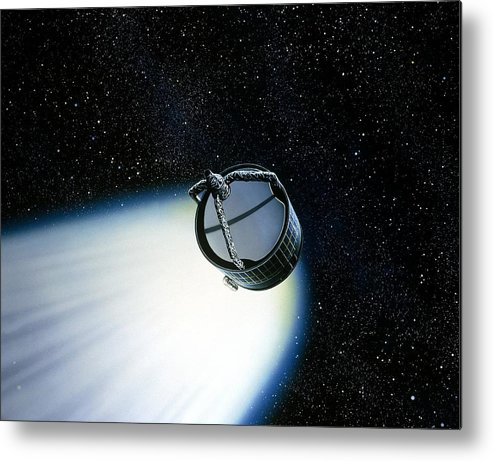 Giotto Spacecraft Metal Print featuring the photograph Artwork Showing Giotto Nearing Halley's Comet by David Parker