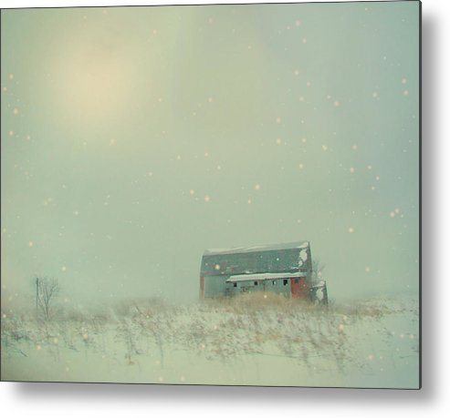 Barn Metal Print featuring the photograph Barn In Winter by Gothicrow Images