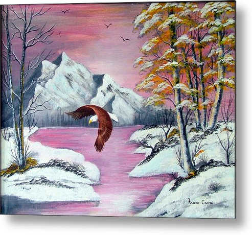 Landscape--eagle--nature Metal Print featuring the painting Beauty And Grace by Fram Cama