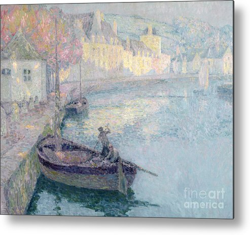 Clair Matin A Quimperle; Bretagne; Port; Barque; Breton; Impressionist; Finistere; Brittany; Fishing Boat; Harbour; Sunrise; Dawn; Harbor; Boat; Boats; Rowing; House; Houses Metal Print featuring the painting Clear Morning - Quimperle by Henri Eugene Augustin Le Sidaner