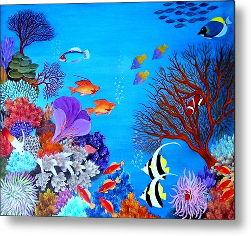 Marine Life--fish--corals--underwater Metal Print featuring the painting Coral Garden by Fram Cama