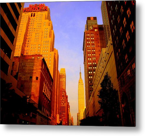 Cities Photograph Metal Print featuring the photograph Empire State Building Sunset by Ms Judi