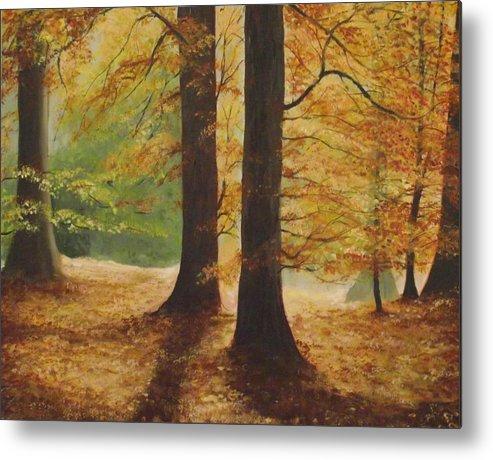 Original Irish Art Metal Print featuring the painting Forest Light by Robert Gary Chestnutt
