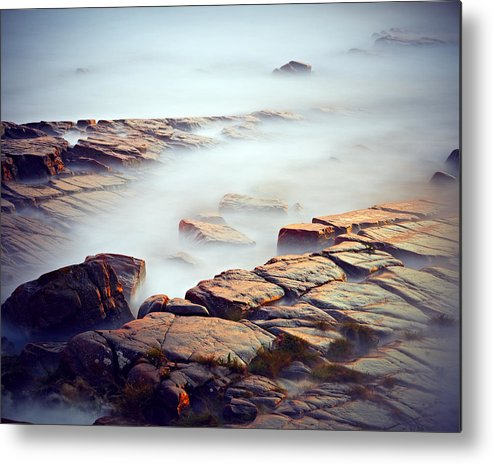 Horizontal Metal Print featuring the photograph Golden Rocks by Magnus Larsson
