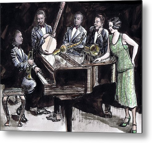 Nostalgia Metal Print featuring the drawing Hot Five by Mel Thompson