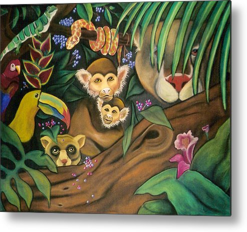 Jungle Metal Print featuring the drawing Jungle Fever by Juliana Dube